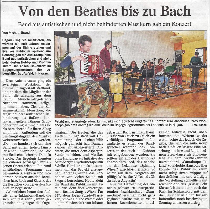 Presseartikel Donaukurier, 28. Oktober 2014, zu unserem Konzert am 26. Oktober in Ingolstadt