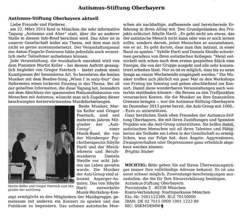 Presseartikel Rundbrief Autismus Oberbayern e.V., Juni 2014