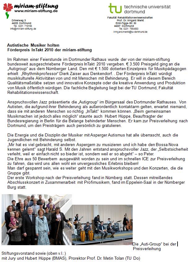 Pressetext der Auti-Group e.V. zur Verleihung des Förderpreis InTakt 2010 der miriam-stiftung